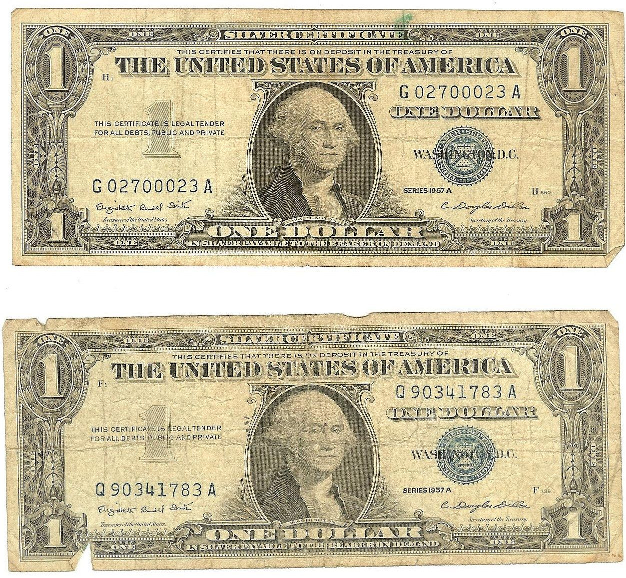 Vintage 1957 Silver Certificates One Dollar Bills Old Money 59 Year