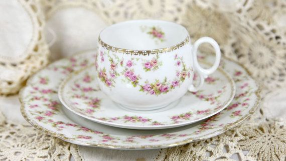 Altrohlau MZ Austria c18841939 Bridal Rose Pattern Tea by Ariamel, $30.00