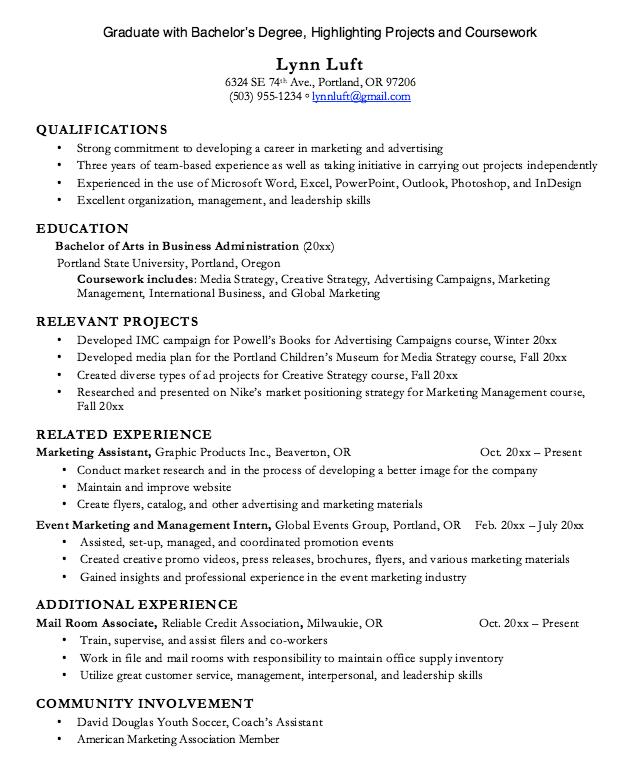 Graduate Coursework Degree Resume Examples Resume Cv