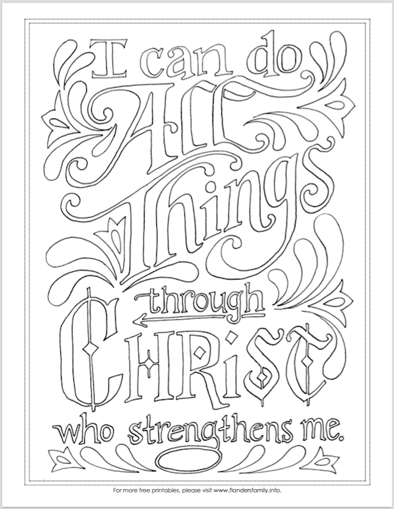 "- I Can Do All Things"" Coloring Page Bible Coloring Pages, Coloring Pages, Scripture  Coloring"