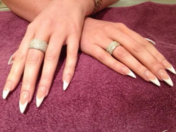 Pin By Asg5353 On 3 Double Team Dynamicpunch Amazing Fantastic Fabulous Strong French Dragon Claws Pointy Nails French Stiletto Nails French Tip Acrylic Nails