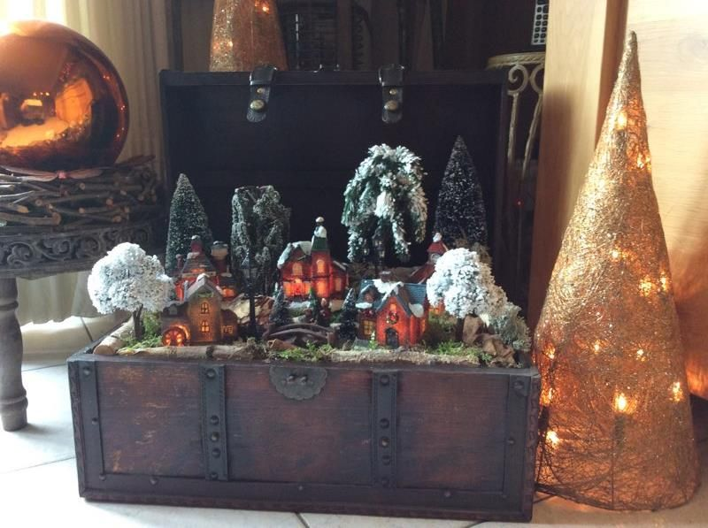 Kerstdorp in koffer gemaakt