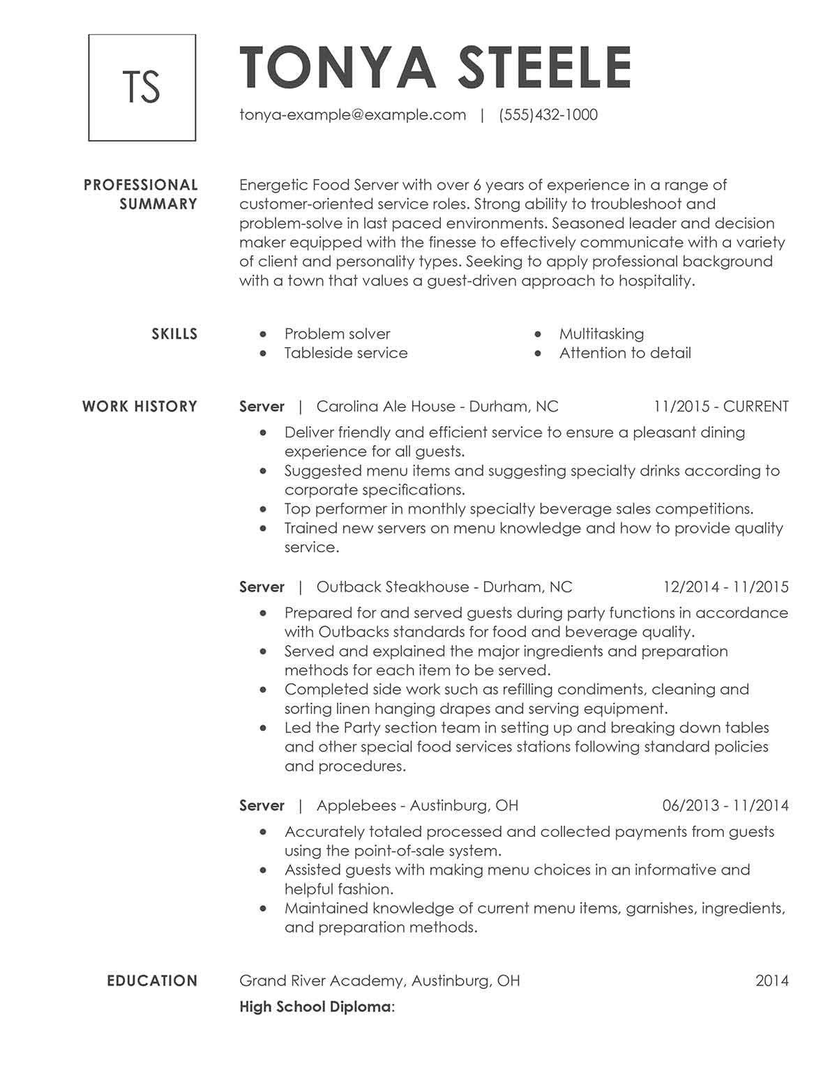 Resume Example for Server Luxury Unfor Table Restaurant