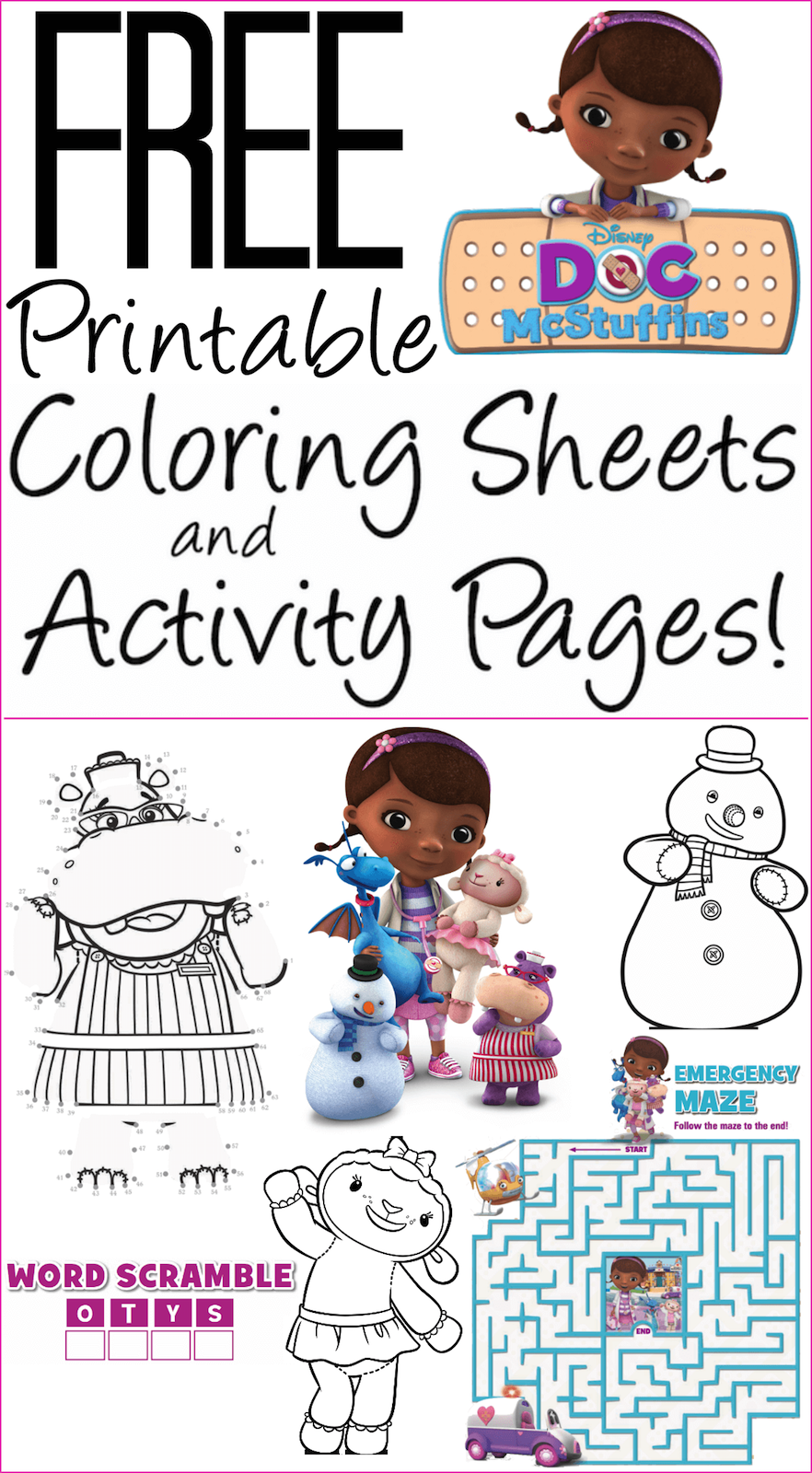 This is a picture of Divine Doc Mcstuffins Printables Free