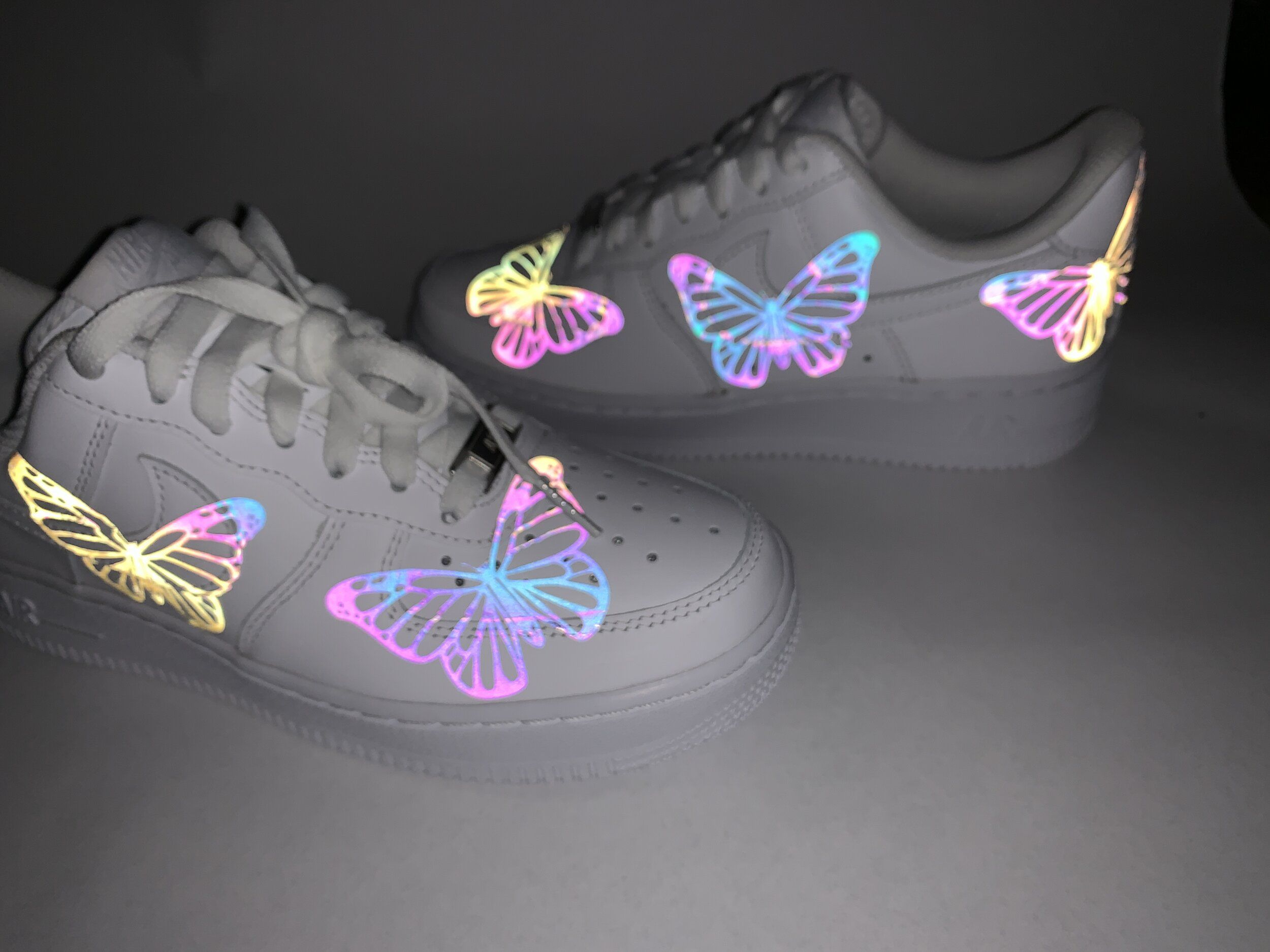 Rainbow Reflective Dior Air Force 1's in 2020 Nike shoes