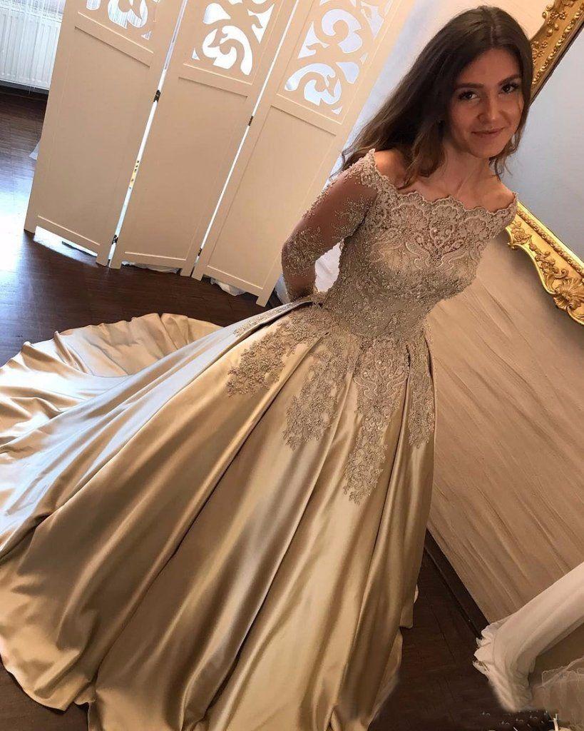 Off shoulder long sleeve gold a line sparkly evening prom dresses