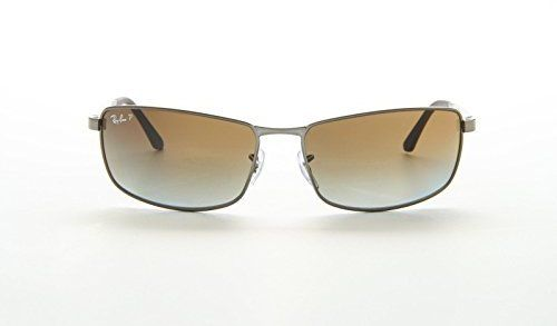 a2585741b8 Ray-Ban Rectangle Wrap Sunglasses Matte Gunmetal Gradient Grey Brown  Polarised RB3498 029 T5 61