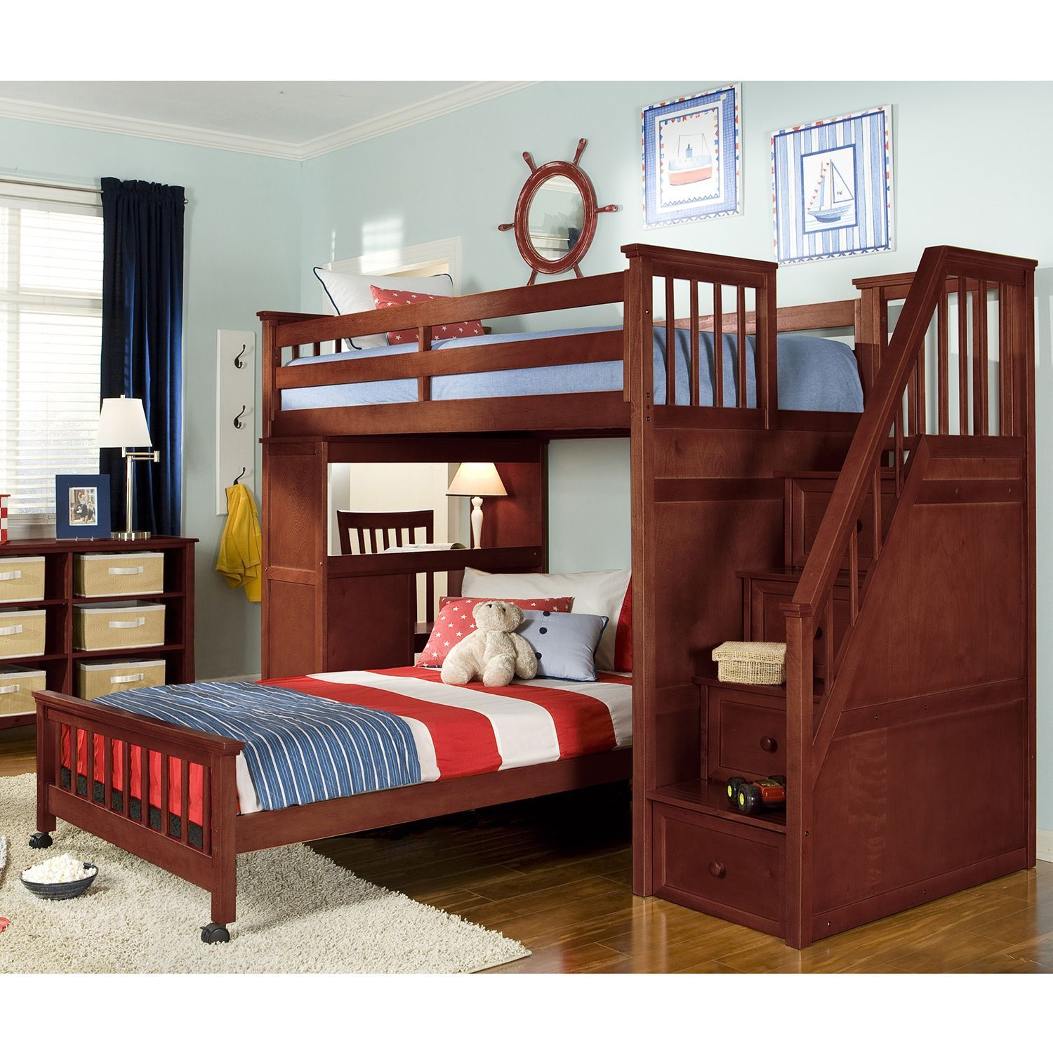 Loft bed with desk full size mattress  NE Kids School House Cherry Stair Loft Desk End Twin Bed Stair Loft