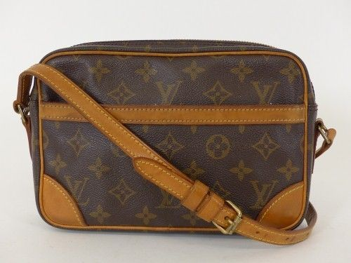 louis vuitton lv schulter tasche mit leder monogram canvas vintage rg812 bei secondherzog. Black Bedroom Furniture Sets. Home Design Ideas
