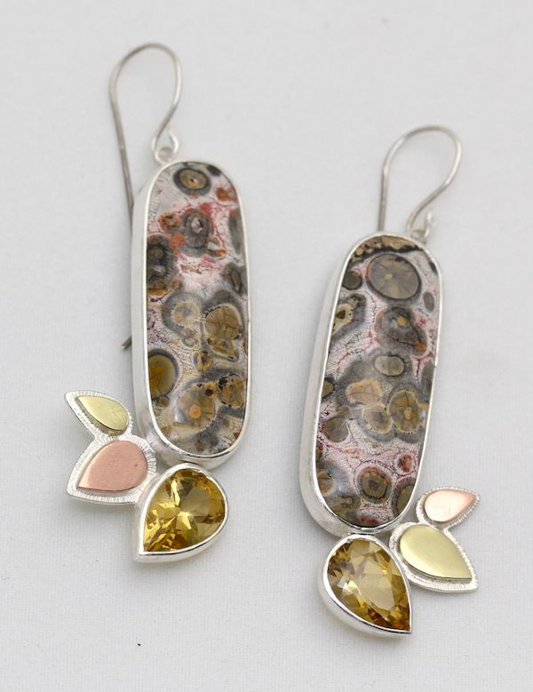 Springtime Forest Earrings. Leopard print rhyolite, citrines, sterling, brass and copper.