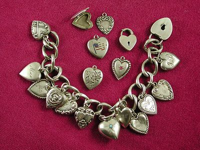 Vintage Sterling Silver Charm Bracelet with  Puffy Heart Charms, 19 Charms