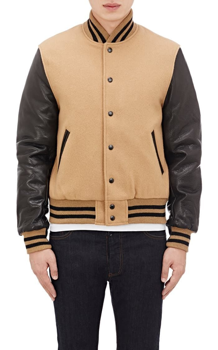 Golden Bear Tan and Black Mens Letterman Jacket | Varsity Jacket ...