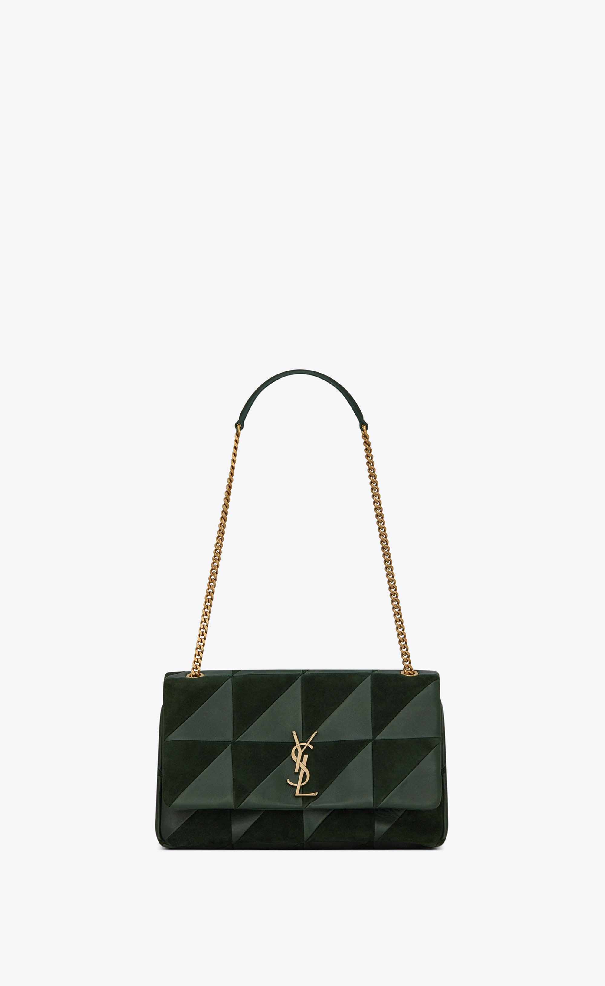 Saint Laurent Medium Jamie Bag In Dark Green Leather And Suede Patchwork  91ed21eef309f