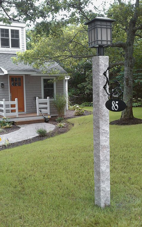 New Hampshire Grey Granite Lamp Post With Iron Bracket Sign Outdoor Lamp Posts Lamp Post Granite