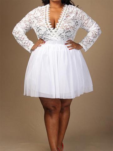 Whimsical Wonderland Lace and Tutu Plus Size Dress | White ...