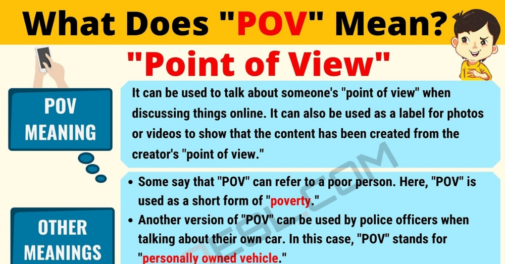 Pov Meaning What Does Pov Mean With Examples 7esl Other Ways To Say Pov Text Abbreviations