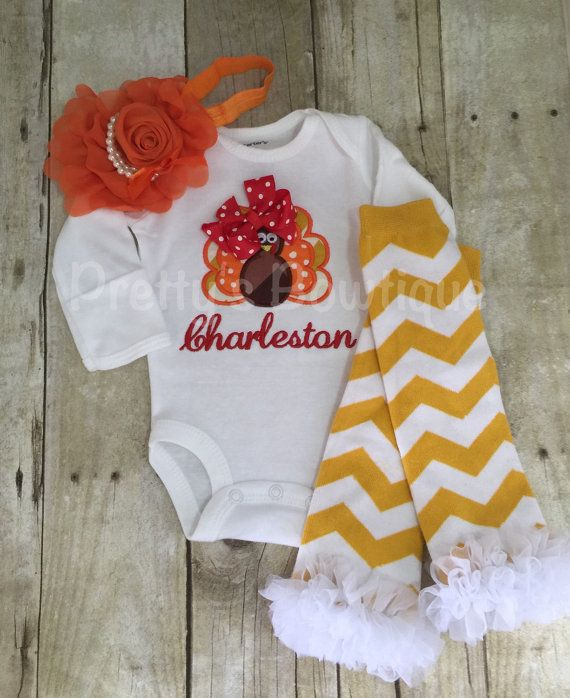 fac3b354b Thanksgiving Baby Outfit for Girl Turkey T by PrettysBowtique Baby Girl  Thanksgiving Outfit, Little Girl