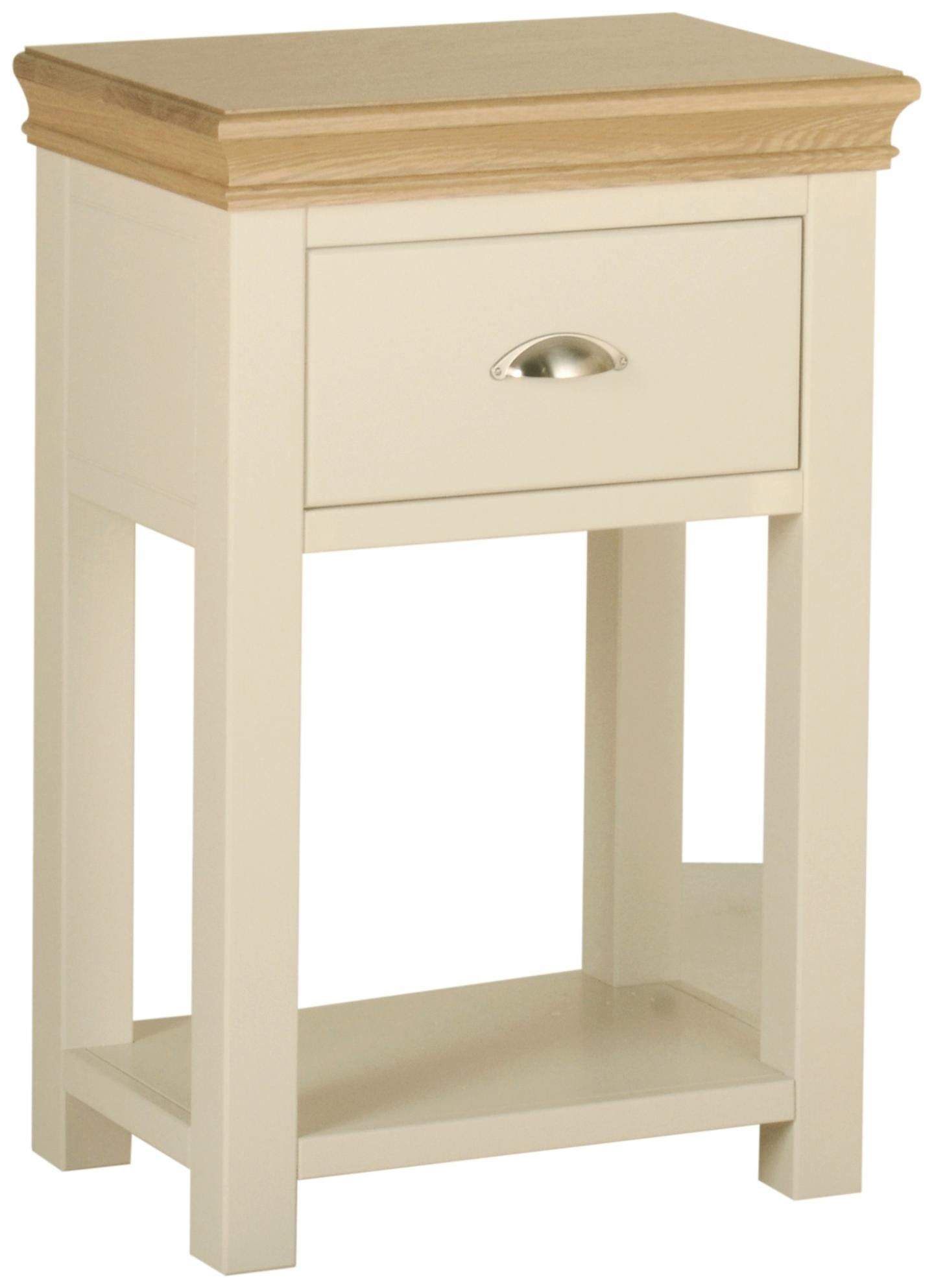Emily 1 Drawer Console Table Painted Ivory With Oak Tops