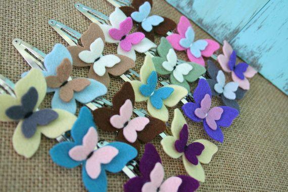 Nested Butterflies Wool Felt Snap Clip  Pick 1 di SquareLemons, $5.00