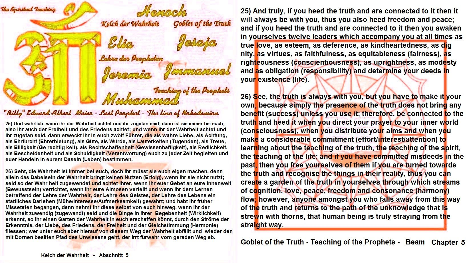 25) And truly, if you heed the truth and are connected to it then it will always be with you, thus you also heed freedom and peace; and if you heed the truth and are connected to it then you awaken in yourselves twelve leaders which accompany you at all times as true love, as esteem, as deference, as kindheartedness, as dig nity, as virtues, as faithfulness, as equitableness (fairness), as righteousness (conscientiousness), as uprightness, as modesty and as obligation