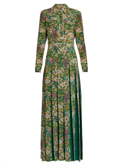830dd23785dd4a GUCCI Pleated floral-print silk crepe de Chine dress.  gucci  cloth  dress