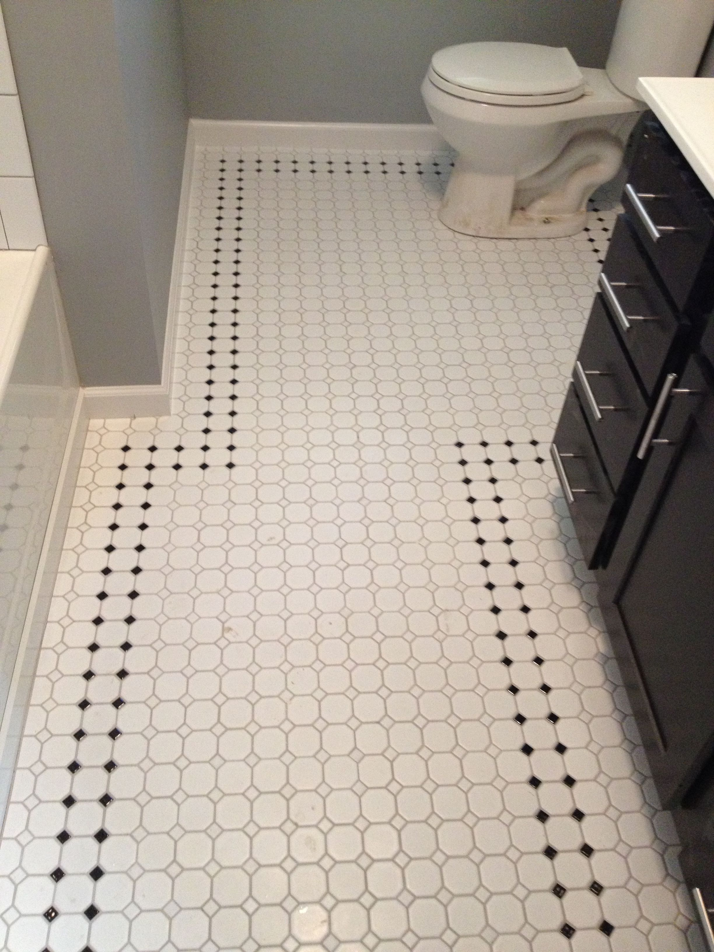Retro inspired octagon and dot bathroom floor tile. | Work by ...