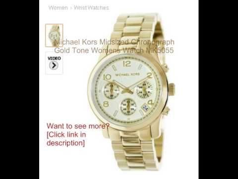 c4a1fa081bb8 Michael Kors Midsized Chronograph Gold Tone Womens Watch MK5055 ...