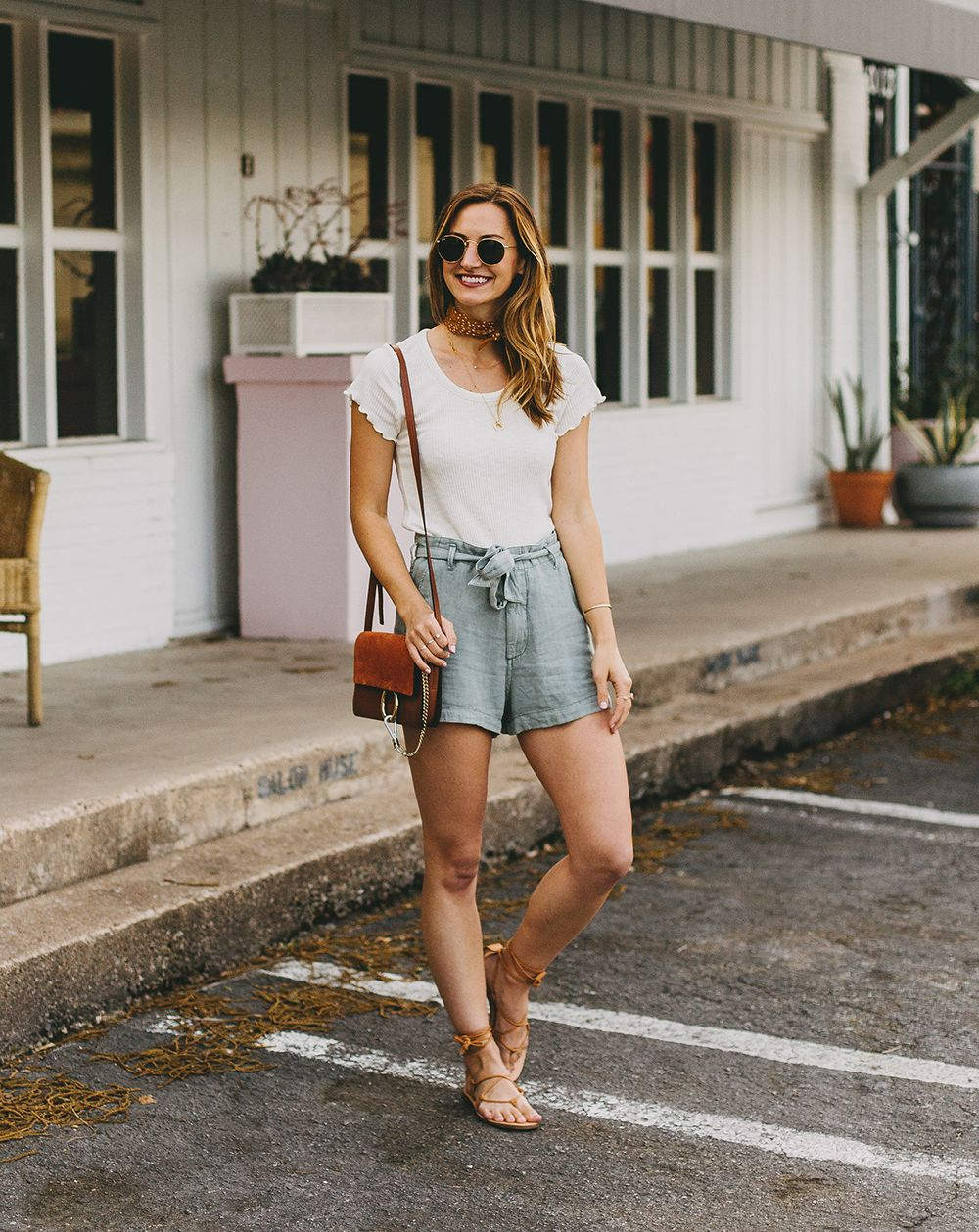 Summer Trend Tie Waist Shorts Livvyland Short Outfits Chic Clothing Style High Waisted Shorts Outfit