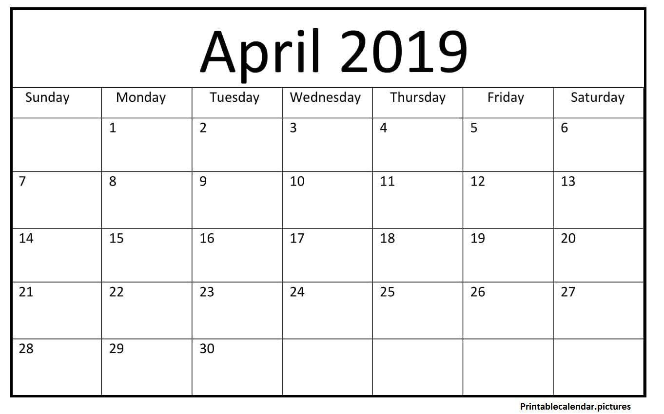 Printable April 2019 Blank Calendar #april #2019calendar