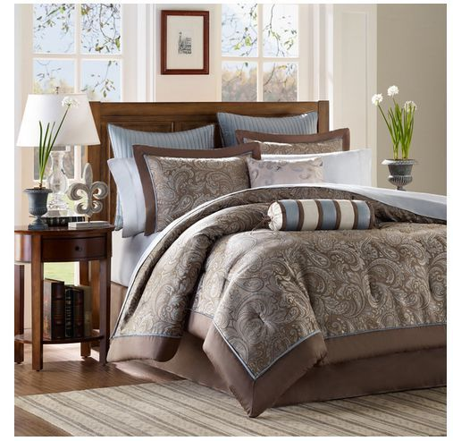 Queen King Bed Comforter 12-piece Set With Sheet Set Brown Blue White Colors in Home & Garden | eBay