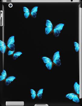 Supper Blue Butterflies On A Black Background Ipad Snap Case by Dodi Ballada