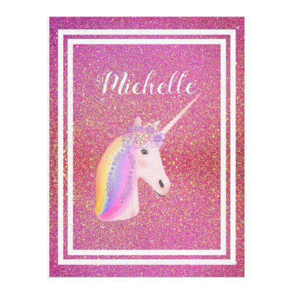 Rainbow Unicorn Pink Glitter Sparkles Magical Fantasy Kid's Blanket  #unicornblankets #glitterunicorns #personalizedunicornblankets #unicornbedrooms