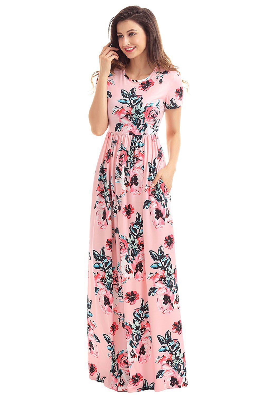 Gloriaandsarah women short sleeve floral print pocket vintage maxi