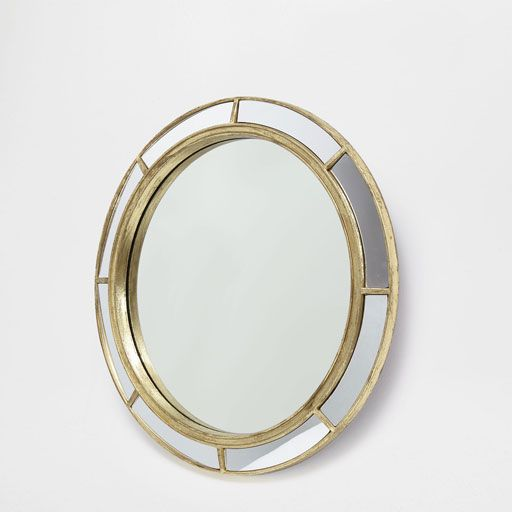 Imagen del producto espejo redondo vidrio dorado decor for Espejo dorado bano