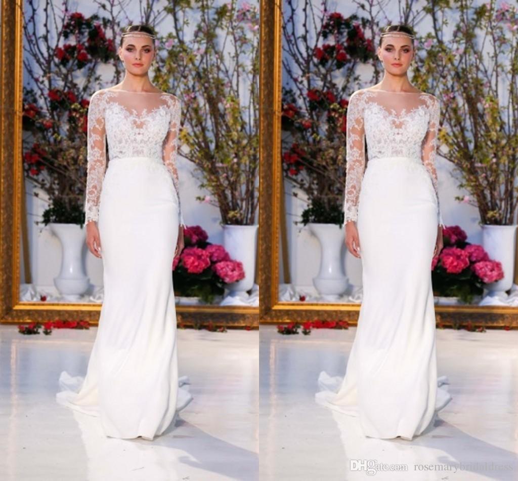 Long sleeve wedding dresses new fashion illusion bodic mermiad