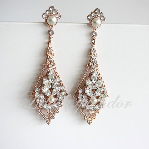 Crystal Chandelier Earrings Rose Gold Earrings Swarovski Pearl and  Crystals, Art Deco Wedding Earrings,