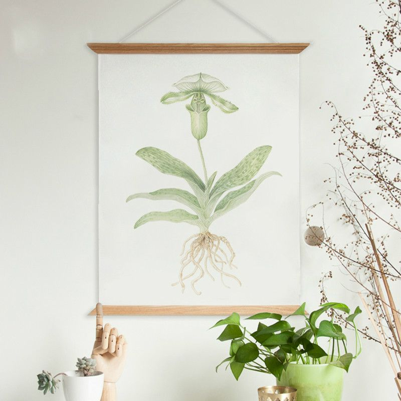 Country Style Fresh Green Plants Flora Painting Wooden Poster Hanger ...