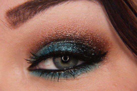Azul, marrom preto