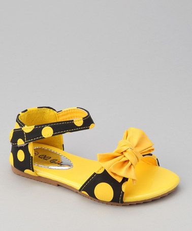 Take a look at this Yellow Apple-77 Polka Dot Sandal by QQ Girl on #zulily today!