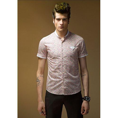 Men Fuchsia Floral Print Short Sleeve Hipster Fashion Casual Shirt SKU-11407033