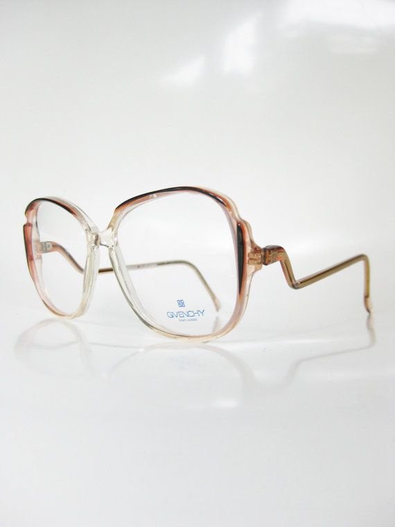 0efed2daa8a6 Vintage Givenchy Eyeglasses French Sunglasses 1970s Oversized Pink Black  Tiger Lily Clear Transparent 70s Seventies Sunnies France Hipster