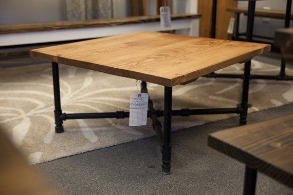 Astounding Industrial Coffee Table Coffee Table With Black Iron Pipe Machost Co Dining Chair Design Ideas Machostcouk