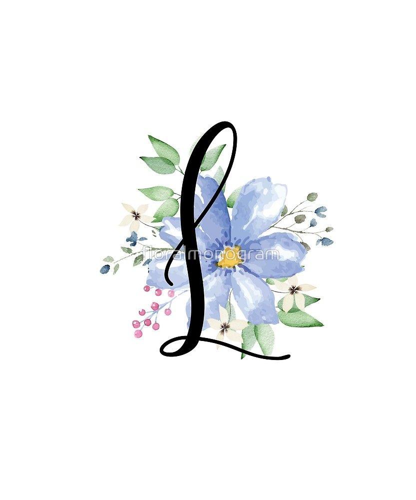 Monogram L Beautiful Watercolor Blue Flower Sticker By Floralmonogram In 2021 Floral Monogram Letter Alphabet Wallpaper Watercolor Monogram