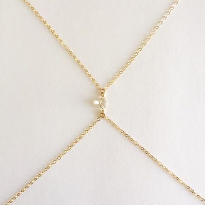 "14K GOLD WHITE TOPAZ STONE. GOLD FILLED CHAIN AND CLASP.30"" NECK + 32"" AROUND.ALL SALES ARE FINAL"