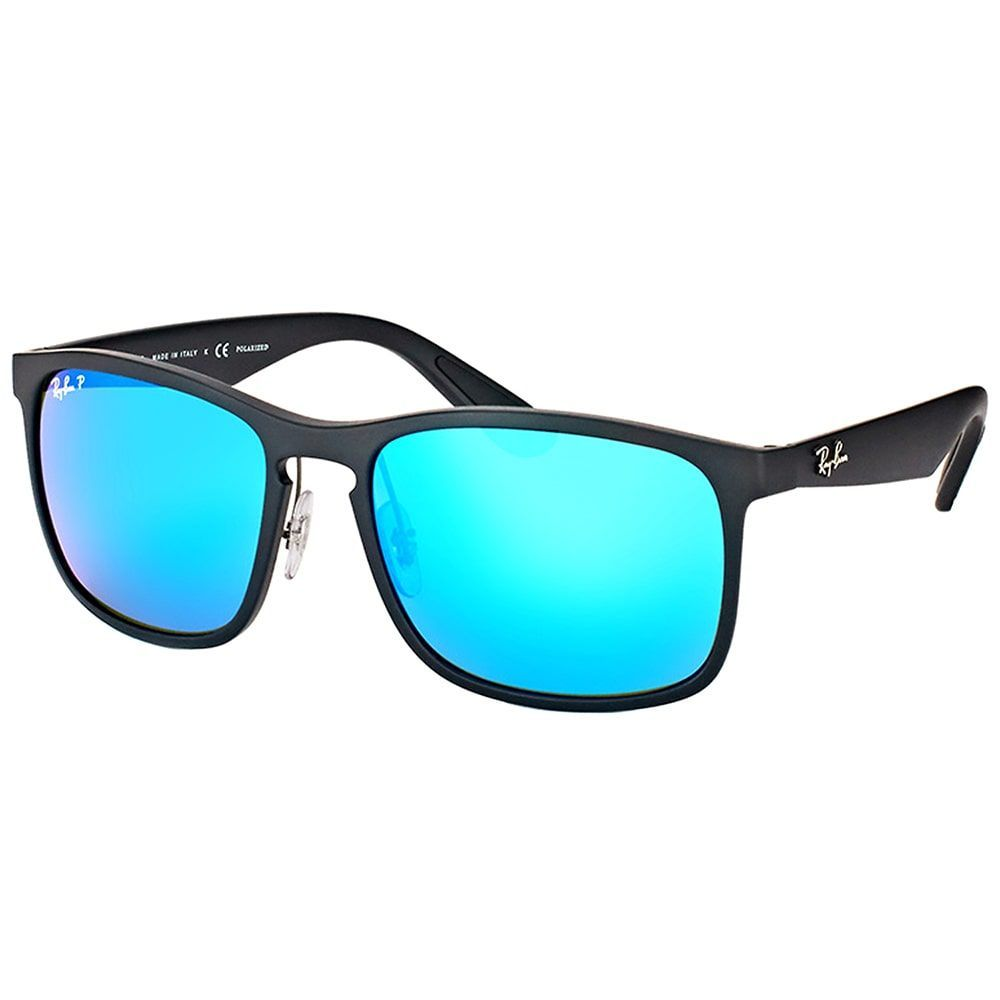 82b5fd022e Ray-Ban RB 4264 601SA1 Matte Black Plastic Square Sunglasses Blue Flash Polarized  Chromance Lens (Matte Black)