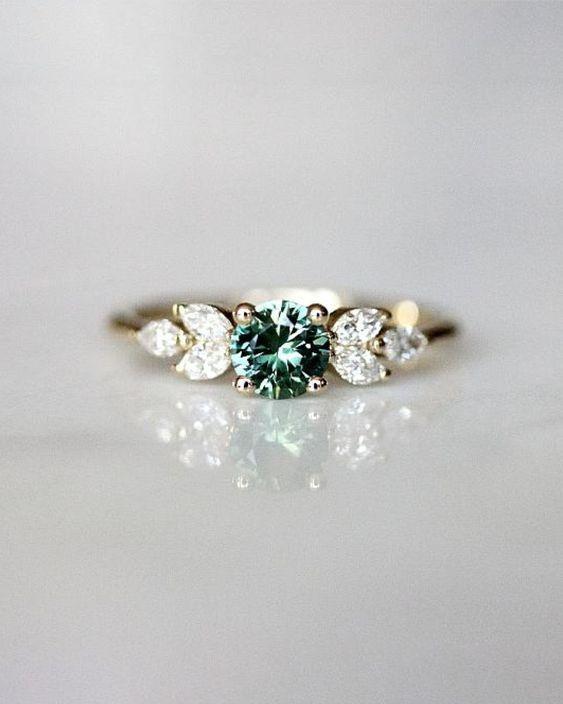 Diamond Engagement Ring on Gray Snowflake Pewter Christmas Ornament