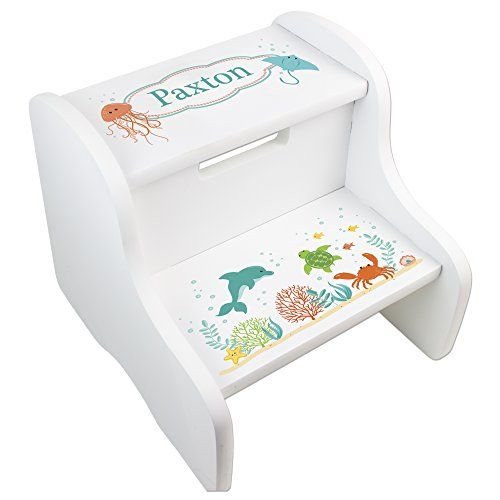 Marvelous Personalized Natural Sealife Step Stool Veretys 4 In 2019 Ibusinesslaw Wood Chair Design Ideas Ibusinesslaworg