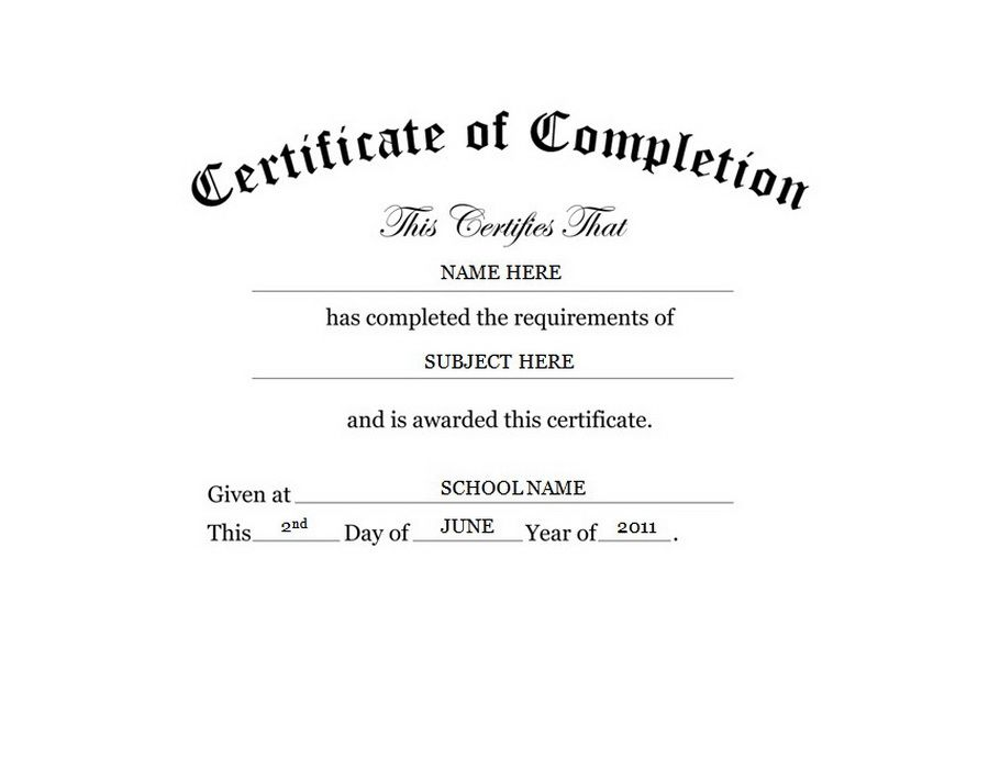 Certificate of Completion Free Templates Clip Art \ Wording - certificate of completion template word