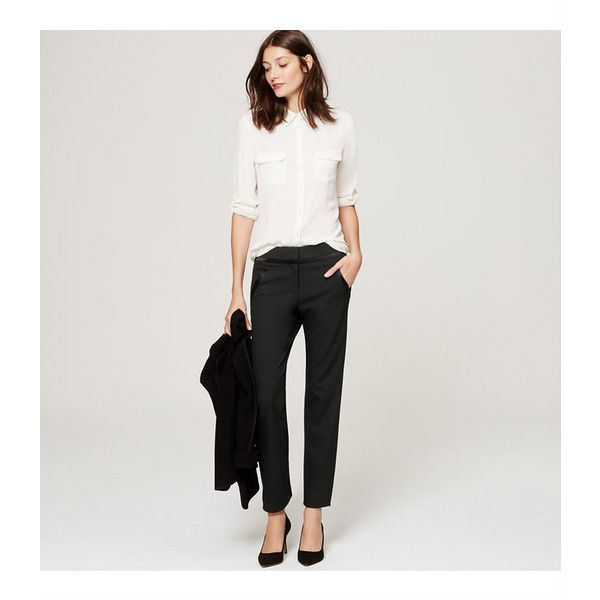 LOFT Petite Tuxedo Skinny Ankle Pants in Julie Fit (240 BRL) ❤ liked on Polyvore featuring pants, capris, black, slim fit pants, slim cropped pants, cropped capri pants, tuxedo trousers and slim-fit trousers