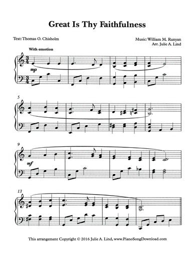 Great is Thy Faithfulness, free hymn arrangements at Piano Song ...